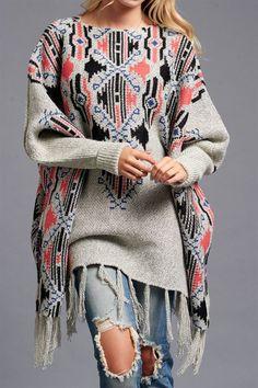 Lila Boho Sweater Gray