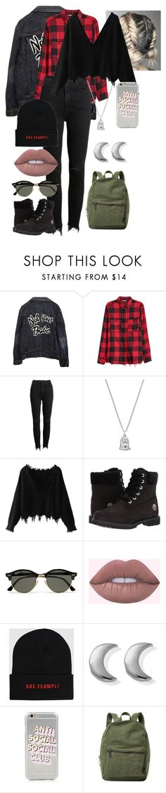 """""""ghoulie girl"""" by willow-rand on Polyvore featuring High Heels Suicide, Mother, Gucci, Timberland, Ray-Ban, ChloBo, Anti Social Social Club and Herschel Supply Co."""
