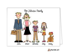 Personalized by You to look like your family! These adorable custom people folded note cards are the perfect way to say Thank You! from Little Angel Announcements