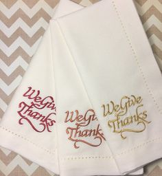 "Thanksgiving ""We Give Thanks"" Embroidered Cloth Napkins, thanksgiving napkins, give thanks napkins, thanksgiving cloth napkins, thankful Monogrammed Napkins, Personalized Napkins, Custom Napkins, Printed Napkins, Cloth Dinner Napkins, Linen Napkins, Napkins Set, Christmas Napkins, White Tulips"