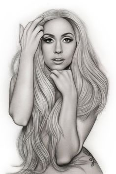 Lady Gaga Vanity Fair Outtake Re-Upload by AdamAlexisRyan on deviantART ~ pencil portrait