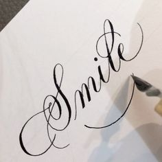 Monday is coming 😫 I read somewhere smiling can help make you feel happier. Have a great week friends! Copperplate Calligraphy, Calligraphy Words, How To Write Calligraphy, Calligraphy Handwriting, Calligraphy Alphabet, Modern Calligraphy, Creative Lettering, Lettering Design, Letras Tattoo