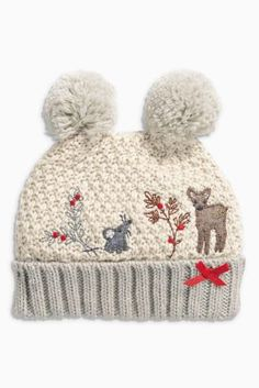 Cream Reindeer Double Pom Pom Hat (Younger Girls) from Next