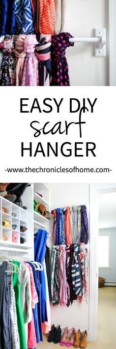 An easy and inexpensive scarf hanger using wooden towel bars. A great way to organize your Master Closet.