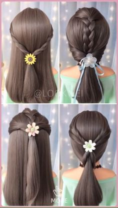 Four different ponytail Hairstyles - My list of women's hairstyles Pony Hairstyles, Hairstyles For School, Simple Hairstyles, Medium Hair Styles, Short Hair Styles, Underlights Hair, Hair Upstyles, Wedding Guest Hairstyles, Girl Short Hair
