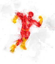 Superheroes Illustrated With Paint Spatters - Flash