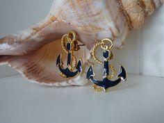 Anchors Away Post Earrings  Enameled Nautical by ChicAvantGarde