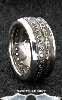 1886 Silver Morgan Dollar Double Sided Coin Ring Sizes 10-20 Half Unique Gift Men's Large 3D Coin Ring Gift Wide 29th Birthday Gift