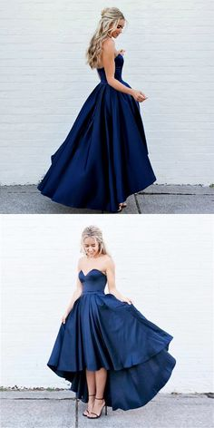 Fabric: Satin Color: Blue Neckline: Strapless Length: Tea Length Silhouettes: A Line Back Detail: Zipper Back Trends: New Arrival Embellishment: Bra Cups Skirt: A Line Collection: Prom Dresses, Formal Gown, Pageant Gown