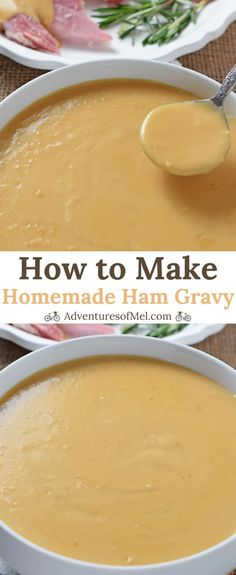 Homemade Ham Gravy made with leftover ham drippings. Delicious side dish with ham mashed potatoes and all the fixings! - Ham - Ideas of Ham Side Dishes For Ham, Ham Dishes, Dinner Side Dishes, Dinner Sides, Gravy For Mashed Potatoes, Potato Gravy, Cheesy Potatoes, Ham Recipes, Sauce Recipes