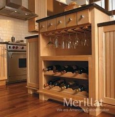 Wall wood stemware rack - LOVE this Custom Kitchen Cabinets, Wine Cabinets, Dream Home Design, House Design, Kitchen Work Triangle, Kitchen Peninsula, Kitchen Island, Wine Decor, Wine Storage