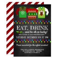Fun Ugly Christmas Sweater Party Invitation - Xmascards ChristmasEve Christmas Eve Christmas merry xmas family holy kids gifts holidays Santa cards