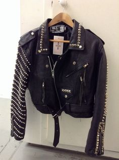 Vintage studded biker jacket . New in at our store at Boxpark