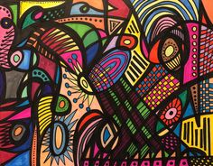 Abstract Art-Abstract Colorful-Art-Abstract Art-Abstract Wall Art- Art Gift-Home Decor-Abstract Decoration -Art Abstract Drawings, Abstract Wall Art, Black And White Drawing, Contemporary Art, My Etsy Shop, Colorful, Handmade Gifts, Marker, Color Combinations