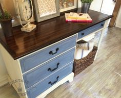 Two-Toned Desk painted in Annie Sloan Old Ochre and Old Violet — Vintage Refined