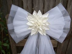 White Poinsettia White Tulle Pew Bow Christmas by OneFunDay