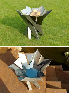 London-based design firm Arpe Studio, has created a collection of modern outdoor fire pits made from steel, that are inspired by Nordic design. Different Plants, Outdoor Fire, Nordic Design, Lily Of The Valley, Design Firms, Picnic Table, Outdoor Furniture, Outdoor Decor, Outdoor Spaces