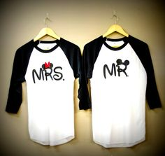 Mr and Mrs Disney couples shirts disney trip just married engagement gift…