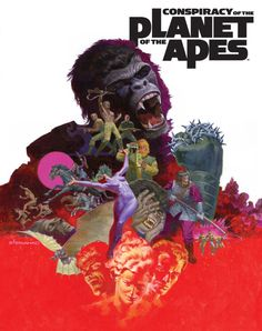 """Conspiracy of the Planet of the Apes"" cover art by Jim Steranko Comic Book Artists, Comic Book Characters, Comic Artist, Comic Character, Comic Books Art, Pierre Boulle, Jim Steranko, Thing 1, Cool Books"