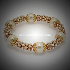 Imitation Bangle, One gram gold bangle, Kada Bangle, Kada, Pearl Bangle Antique Jewellery Designs, Jewelry Design, Gold Bangles Design, Designer Bangles, Gold Pearl, Glamour, Bridal Jewelry, Baby Jewelry, Handmade Jewelry