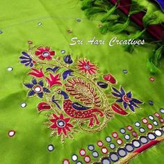 Peacock Embroidery Designs, Hand Embroidery Design Patterns, Designer Blouse Patterns, Aari Embroidery, Cutwork Blouse Designs, Simple Blouse Designs, Bridal Blouse Designs, Mirror Work Blouse Design, Maggam Work Designs