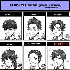 Hairstyle Meme - Male Version [Spain]by ~hime1999 <--THE SIDEBANG LOOKS LIKE SHERLOCK!!!!