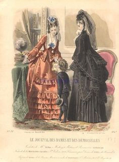 Day or reception dress and mourning dress for women and boys, 1872 France, Le