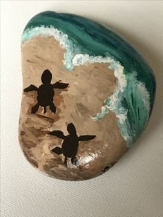 Baby Sea Turtles making their way to the sea - Rock painting
