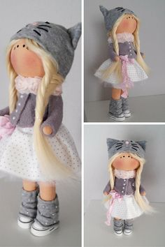 Kitty doll Interior doll Art doll handmade by AnnKirillartPlace