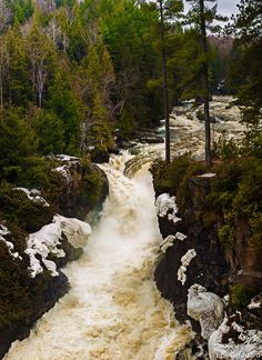 Early Spring runoff at the Chutes Dorwin, Quebec,Canada
