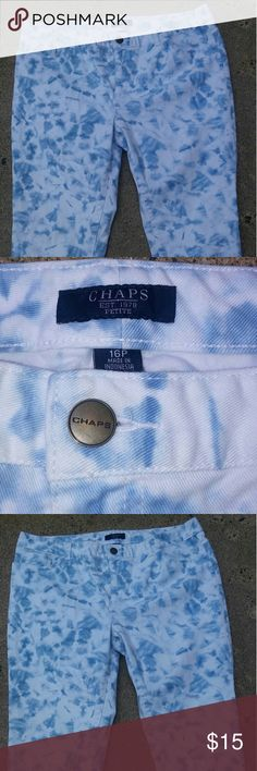 Chaps Size 16P Capri Excellent condition tie dye size 16P Blue & White Capri Chaps Lightning Speed Shipping ( Ships within 24-48Hrs.) Thanks for looking:-) Let me know if you have any questions. Chaps Jeans Ankle & Cropped