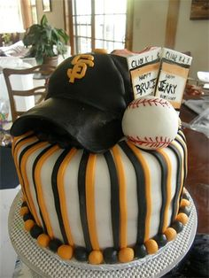Giants baseball cake--birthday cake this year? Sweet Cakes, Cute Cakes, Giant Cake, Fancy Cupcakes, Cakes For Boys, Occasion Cakes, Cake Creations, Cakes And More, Cake Designs