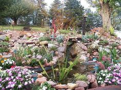 my rock gardens, flowers, landscape, outdoor living, ponds water features, Pond area with waterfall
