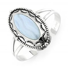Sterling Silver Blue Lace Agate Cuff Bracelet Carolyn Pollack