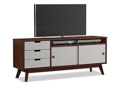 Midcentury Modern Baxton Studio Alphard Mid-Century Modern Two-Tone Finish Wood TV Cabinet, Dark Walnut/White
