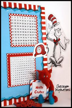 Seuss-like Colors Classroom Theme This set includes a hundreds chart and a multiplication chart.  They are both framed in a bright Seuss-like red.  You can choose to print them as posters, print for students, or add to math folders or notebooks for quick reference.