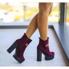 Botine Dama Grena Cu Toc Cod: 232p Peep Toe, Booty, Shoes, Fashion, Moda, Swag, Zapatos, Shoes Outlet, Fashion Styles