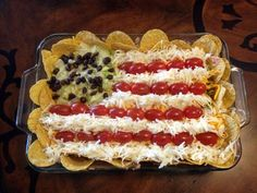 Fourth of July layer dip flag. Leave out chips around edge next time-they get soggy quickly.) Fourth of July party @ Clarese's. Fourth Of July Food, 4th Of July Party, Fourth Of July Recipes, 4th Of July Food Sides, Holiday Treats, Holiday Recipes, Holiday Gifts, Holiday Fun, Holiday Foods