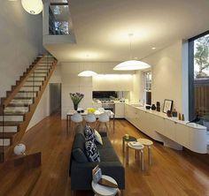 Light and simple design stairs, wood grain aluminium stairs.