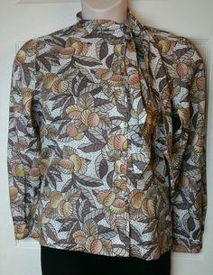 Vtg Blouse Sz 13/14 Floral Print Collar Button Down Top COS COB #COSCOB #Blouse #Casual
