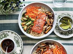 Teriyaki Salmon Bowls with Crispy Brussels Sprouts Recipe   This poached salmon spends 1 to 2 hours in the slow cooker for a tender, not dry fillet. We paired the fillet with brown rice, Brussels sprouts, and shiitake mushrooms for a tasty meal in one-bowl.