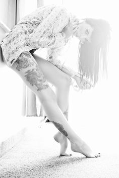 TRD Photography - Boudoir - Model - Photoshoot - Chattanooga TN - Sexy - Classy - Tattoo - Tattoo Model - Tattoo Photography - Alt - Alternative - Girl - Renee Rockwood - Black and White - B&W - Hotel - Window