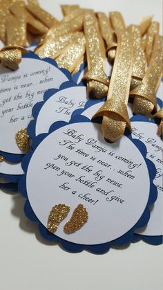 navy and gold glitter baby shower favor tags * barefoot wine party favor tags * navy and gold baby shower * wine party favors * baby shower Baby Shower Niño, Baby Shower Party Favors, Floral Baby Shower, Baby Shower Games, Baby Shower Parties, Star Baby Showers, Gold Baby Showers, Baby Invitations, Baby Shower Invitations For Boys