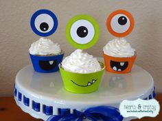 Monster Party Cupcakes  Monster Birthday di HeartsandCraftsy