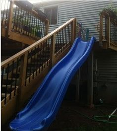 What a fantastic idea for a 2nd story deck incorporated into a kid's play yard space…easily converted when the kids outgrow it.