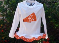 Personalized Appliqued Cheer Megaphone ribbon by sewcutecreations, $22.00