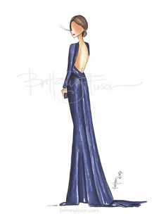 Hilary Swank | Oscars red carpet | best dressed | fashion illustration | Brittany Fuson