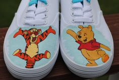 New Hand Painted Bouncing Tigger and Dancing by AnnetasticDesigns Disney Painted Shoes, Painted Canvas Shoes, Custom Painted Shoes, Painted Sneakers, Hand Painted Shoes, Painted Vans, Custom Slip On Vans, Custom Vans Shoes, Disney Vans
