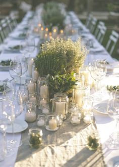 Green table decorations with pots and plants for rustic summer wedding | 5 decoration ideas for summer weddings