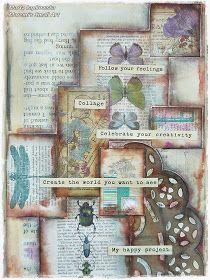 "Marta Lapkowska: ""Follow your feelings"" mixed media art journal page for Cardz'n'Scrapz"